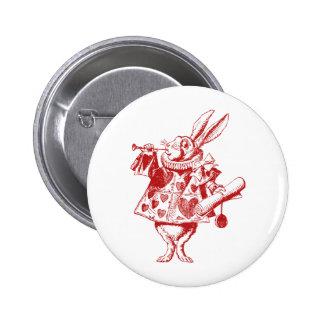 White Rabbit Herald Inked Red 6 Cm Round Badge
