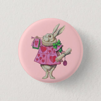 White Rabbit (in pink) Button