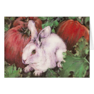 White Rabbit in the Pumpkin Patch Card