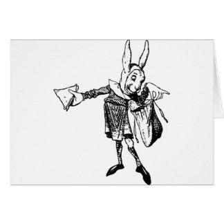 White Rabbit Messenger Inked Black Greeting Cards