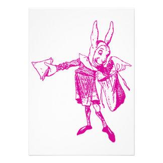White Rabbit Messenger Inked Pink Invites