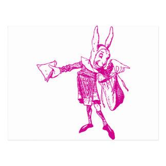 White Rabbit Messenger Inked Pink Postcard