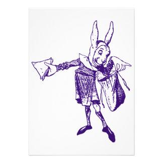 White Rabbit Messenger Inked Purple Personalized Invitation