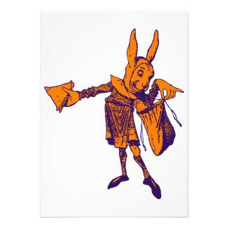 White Rabbit Messenger Inked Purple Orange Custom Invitations
