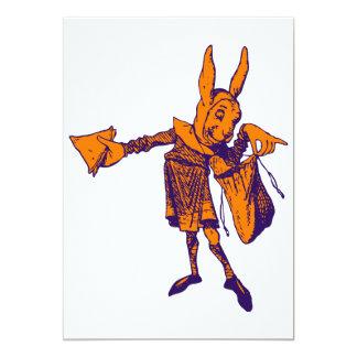 "White Rabbit Messenger Inked Purple Orange 5"" X 7"" Invitation Card"