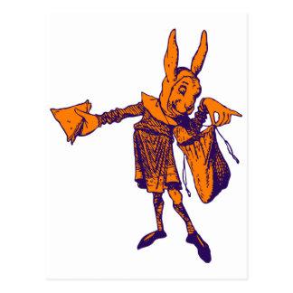 White Rabbit Messenger Inked Purple Orange Postcard