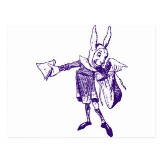 White Rabbit Messenger Inked Purple Postcard