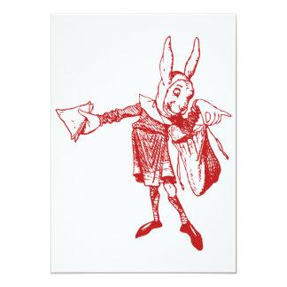 White Rabbit Messenger Inked Red 13 Cm X 18 Cm Invitation Card