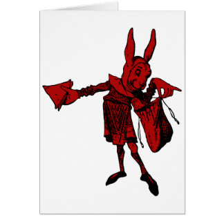 White Rabbit Messenger Inked Red Fill Greeting Card