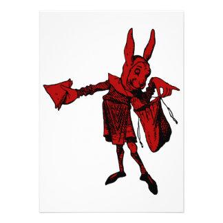 White Rabbit Messenger Inked Red Fill Custom Invitation