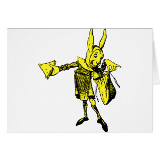 White Rabbit Messenger Inked Yellow Fill Greeting Cards