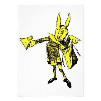 White Rabbit Messenger Inked Yellow Fill Custom Invitations