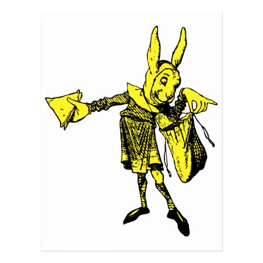 White Rabbit Messenger Inked Yellow Fill Post Card