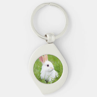 White Rabbit Silver-Colored Swirl Key Ring