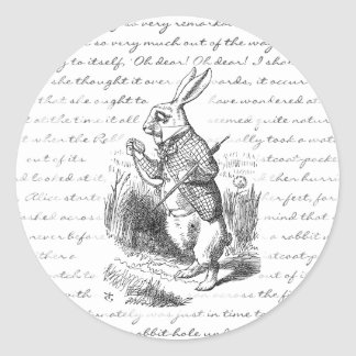 White Rabbit - Oh Dear! Oh Dear! I shall be Late! Round Sticker