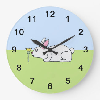 White Rabbit. On a Lawn. Wall Clock