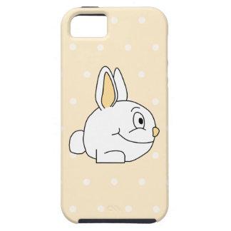 White Rabbit, on beige polka dot patten. Tough iPhone 5 Case