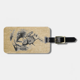 White Rabbit on Burlap Luggage Tag