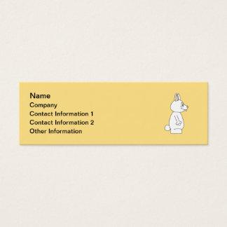 White Rabbit on Yellow Background. Mini Business Card