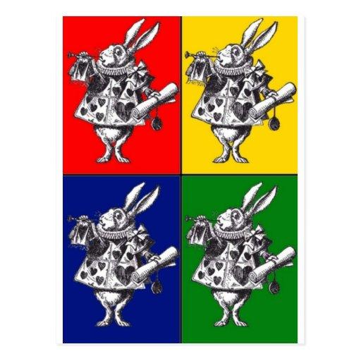 White Rabbit Pop Art Postcards
