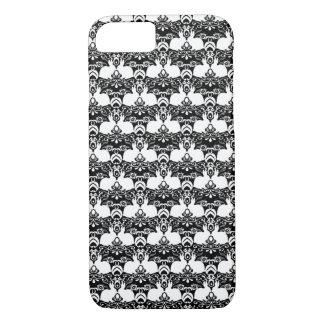 White Rabbit & Roses Damask Print iPhone 7 Case
