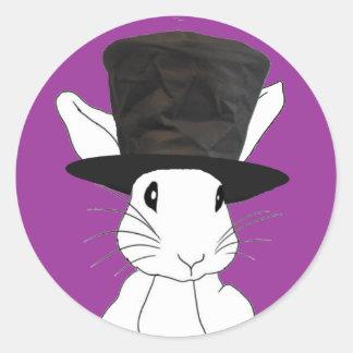 White Rabbit Round Sticker