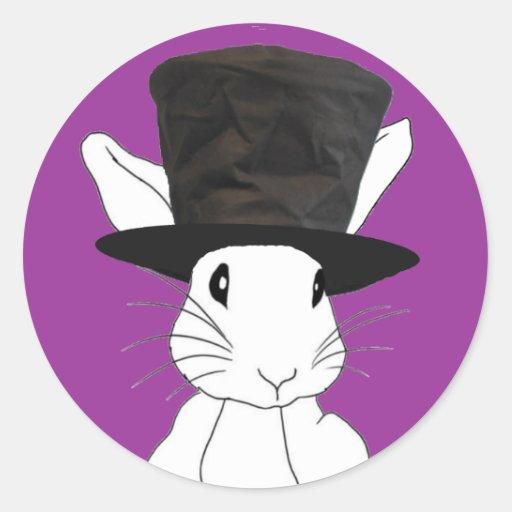 White Rabbit Round Stickers