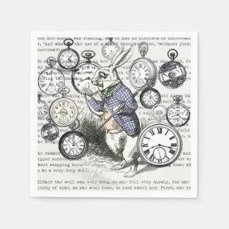 White Rabbit Time Alice in Wonderland Disposable Serviettes