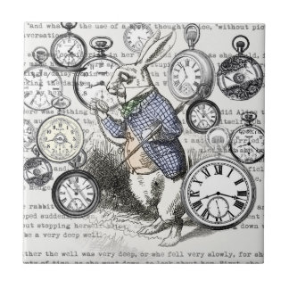 White Rabbit Time Alice in Wonderland Small Square Tile