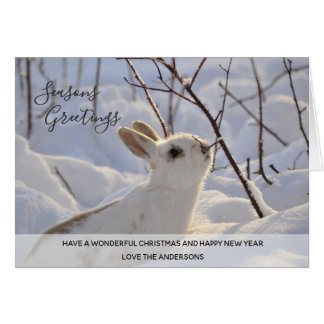 White Rabbit Winter Snow Xmas Photo Personalized Card