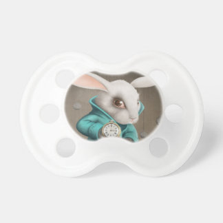 white rabbit with clock pacifier