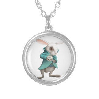 White rabbit with clock silver plated necklace