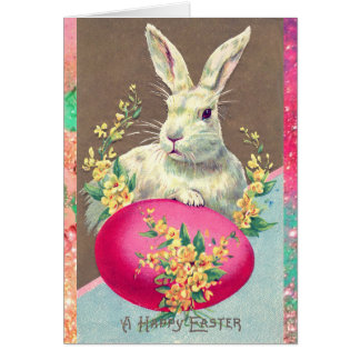 WHITE RABBIT WITH EASTER EGG AND SPRING FLOWERS CARD