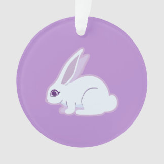 White Rabbit With Long Ears Art Ornament