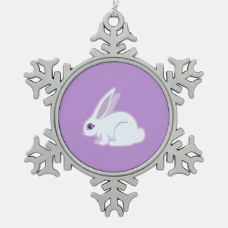 White Rabbit With Long Ears Art Pewter Snowflake Decoration