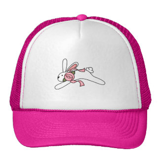 White Rabbit With Pink Ribbon Tshirts and Gifts Cap