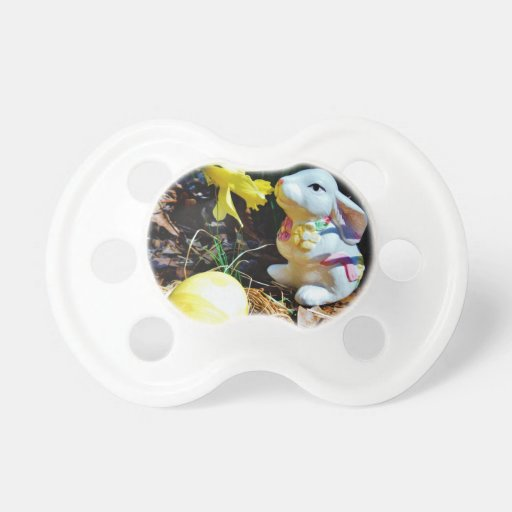 White Rabbit, yellow Easter egg Baby Pacifiers