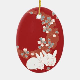 White Rabbits Japanese Fine Art Ceramic Oval Decoration