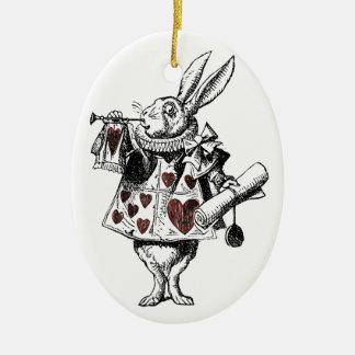 White Rabbits of Hearts - Alice in Wonderland Ceramic Oval Decoration