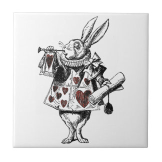 White Rabbits of Hearts - Alice in Wonderland Small Square Tile