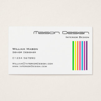 White Rainbow Stripes Business Card