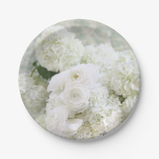 White ranunculus and hydrangeas 7 inch paper plate