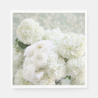 White ranunculus flowers with hydrangeas disposable napkin