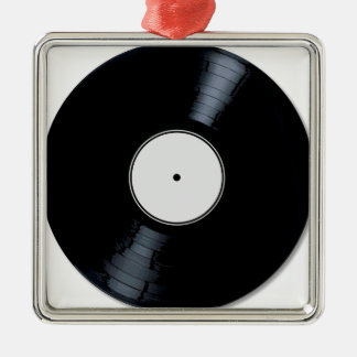 White Record Label Christmas Ornament