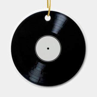 White Record Label Christmas Ornament