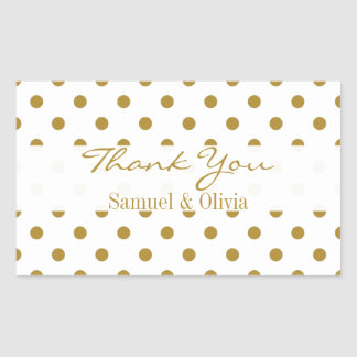 White Rectangle Custom Gold Polka Dotted Thank You Rectangular Sticker