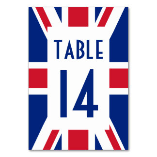White Rectangle Union Jack Numbered Table Card