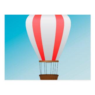 White red air balloon postcard