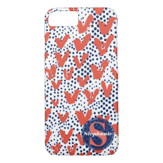 White, Red and Blue Trendy Hearts Dots Monogram iPhone 8/7 Case