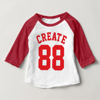 White & Red Baby | Sports Jersey Design Baby T-Shirt